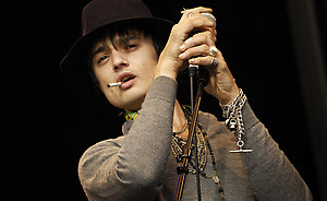 Pete Doherty of Babyshambles performing during the 'T In The Park' music festival in Scotland.