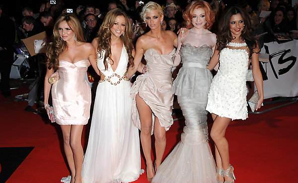 Girls Aloud arriving at the Brit Awards 2009, Earls Court, London.