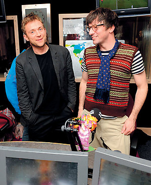 From left to right: Damon Albarn and Graham Coxon from Blur announce the band's reunion on Absolute Radio, Golden Square, central London.