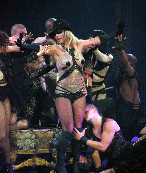 """Britney Spears performs in concert during her """"Circus"""" tour at The Prudential Center in Newark, New Jersey."""