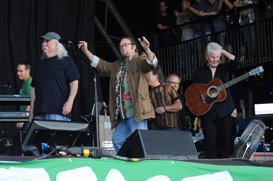 Crosby, Stills and Nash on stage during the 2009 Glastonbury Festival at Worthy Farm in Pilton, Somerset.