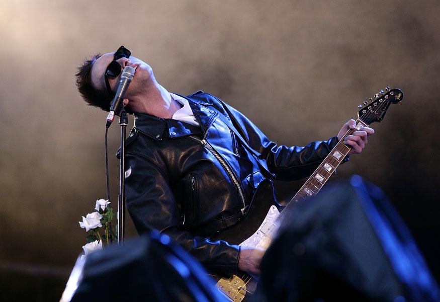 James Allan of Glasvegas performing during the 2009 Glastonbury Festival at Worthy Farm in Pilton, Somerset.