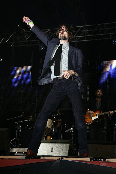 Jarvis Cocker performing during the 2009 Glastonbury Festival at Worthy Farm in Pilton, Somerset.