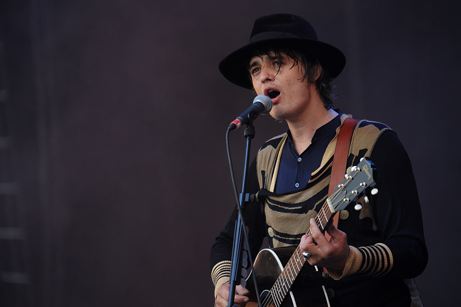 Pete Doherty performing during the 2009 Glastonbury Festival at Worthy Farm in Pilton, Somerset.