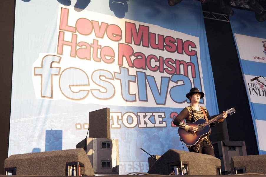 Pete Doherty performs at Love Music Hate Racism Festival at The Britannia Stadium in Stoke on Trent, UK