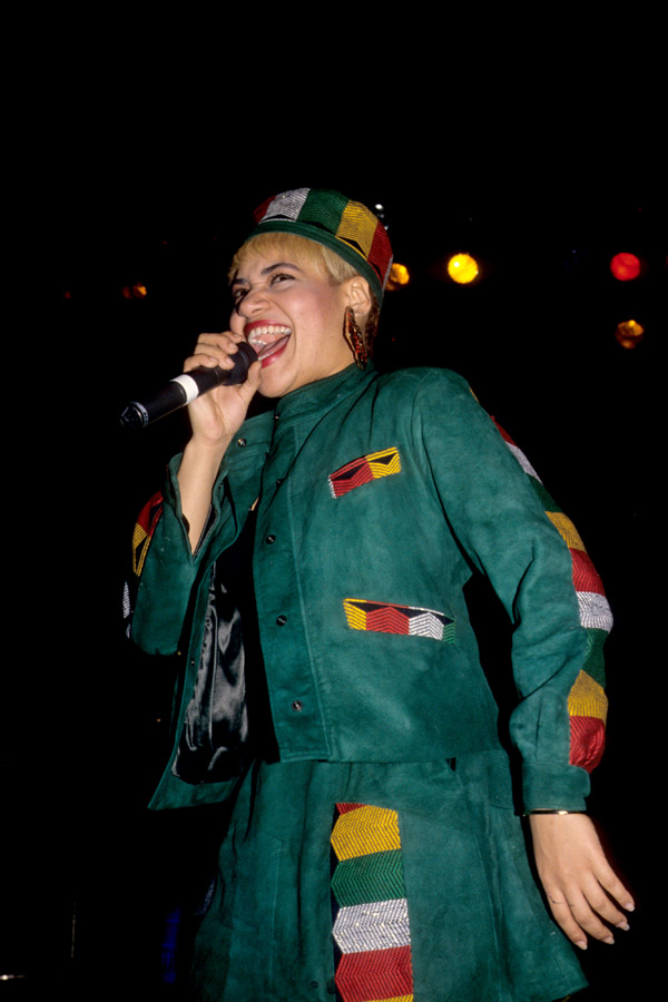 Sandra Denton 'Pepa' of US hip hop group Salt-n-Pepa performs on stage