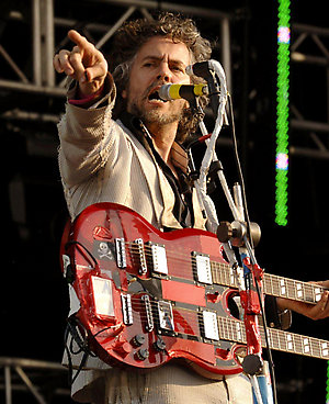 Flaming Lips singer Wayne Coyne performs at the O2 Wireless Festival, in Hyde Park, central London.