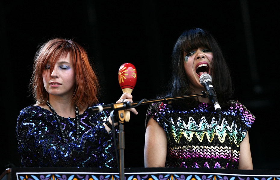 Bat for Lashes performing during the 2009 Glastonbury Festival at Worthy Farm in Pilton, Somerset.