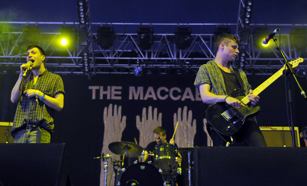 The Maccabees perfom live on the second day of the Isle of Wight festival, in Newport on the Isle of Wight.