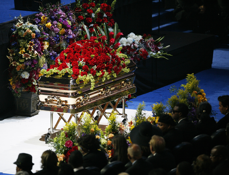 The casket is seen during memorial services for pop star Michael Jackson in Los Angeles July 7, 2009.