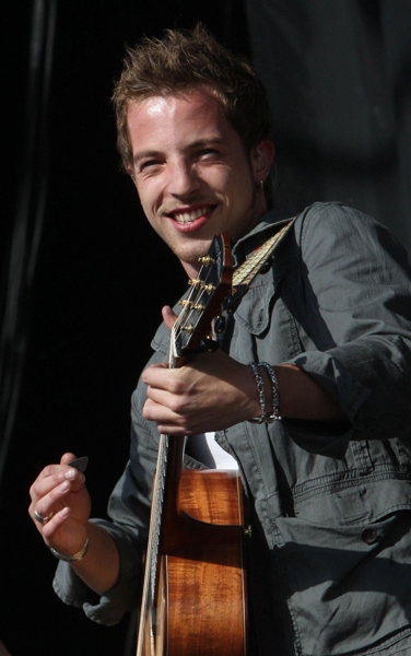James Morrison performs on the Main Stage during the first day of the T in the Park music festival.
