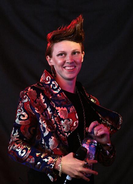Elly Jackson of La Roux performing during the 2009 Glastonbury Festival at Worthy Farm in Pilton, Somerset.