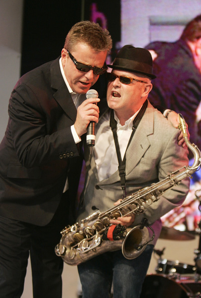 Suggs and his band Madness perform at HMV signing, Oxford Street, London.