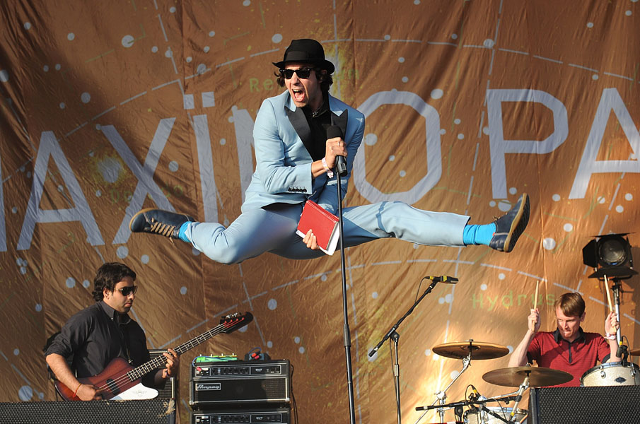 Paul Smith of Maximo Park performing during the 2009 Glastonbury Festival at Worthy Farm in Pilton, Somerset.