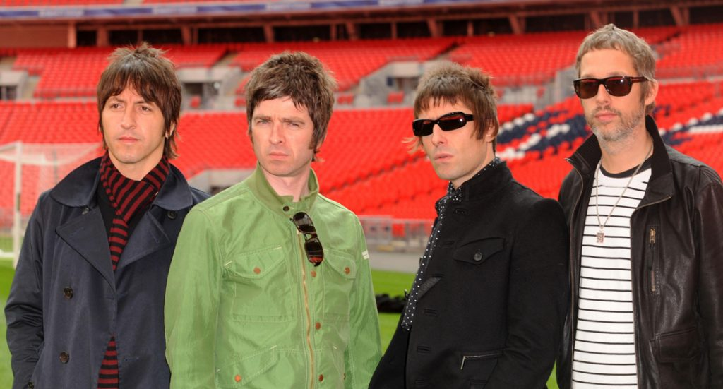 Oasis (from left to right) Gem Archer, Noel Gallagher, Liam Gallagher and Andy Bell are pictured during a photocall at Wembley Stadium, where they announced their biggest ever tour of open air venues in the UK and Ireland next summer.