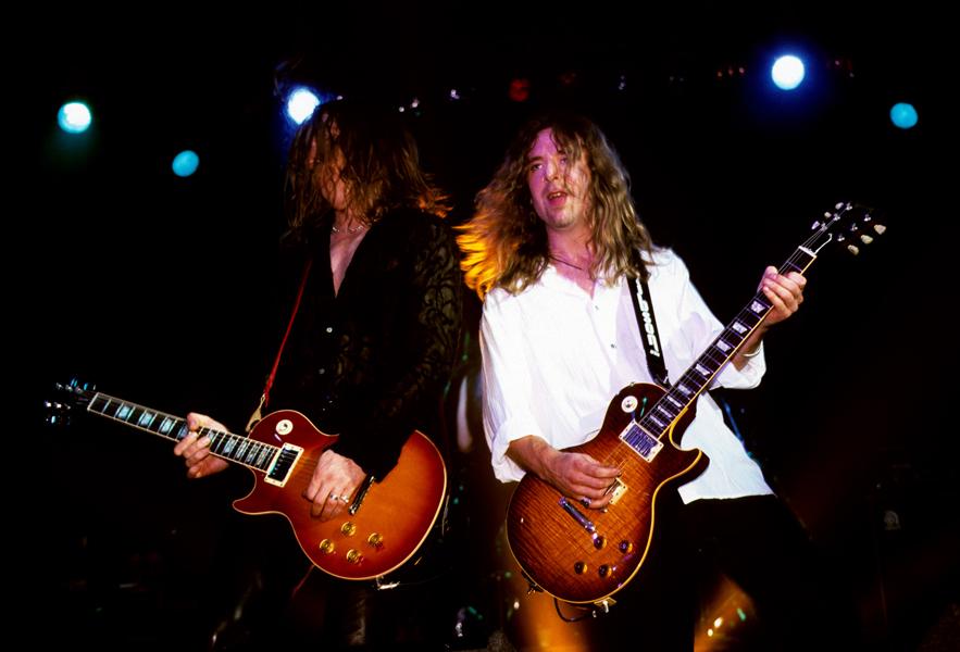 English hard rock band Thunder performing on stage