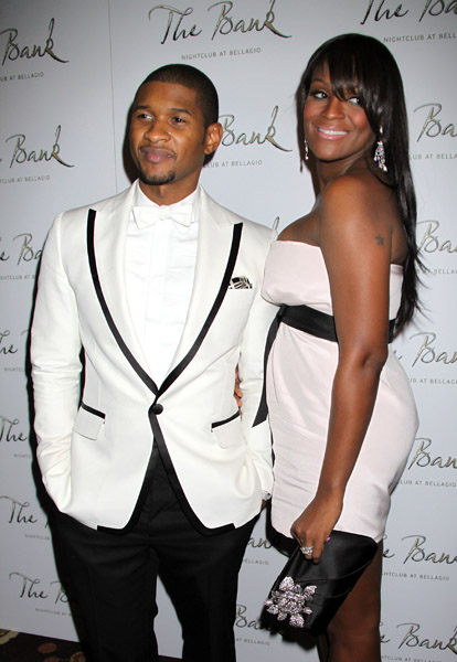 "Usher and Tameka Foster as Usher hosts New Years Eve at ""The Bank Las Vegas"", Bellagio Hotel and Casino in Las Vegas, NV."