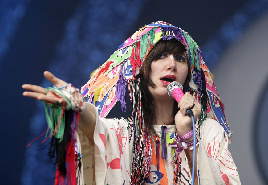 Karen O of the Yeah Yeah Yeahs performing during the 2009 Glastonbury Festival at Worthy Farm in Pilton, Somerset.