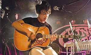 Picture Shows : Meric Long  (guitarist) of  San Francisco based band The Dodos performing at King Tuts, Glasgow. September 3rd 2008