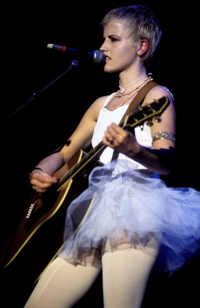 Dolores O'Riordan of Irish rock band The Cranberries performing on stage at The Forum in London