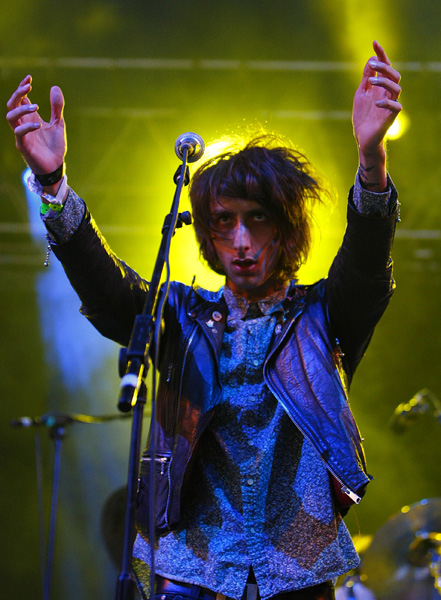 Faris Rotter of The Horrors performing during the Isle of Wight festival, in Newport on the Isle of Wight.