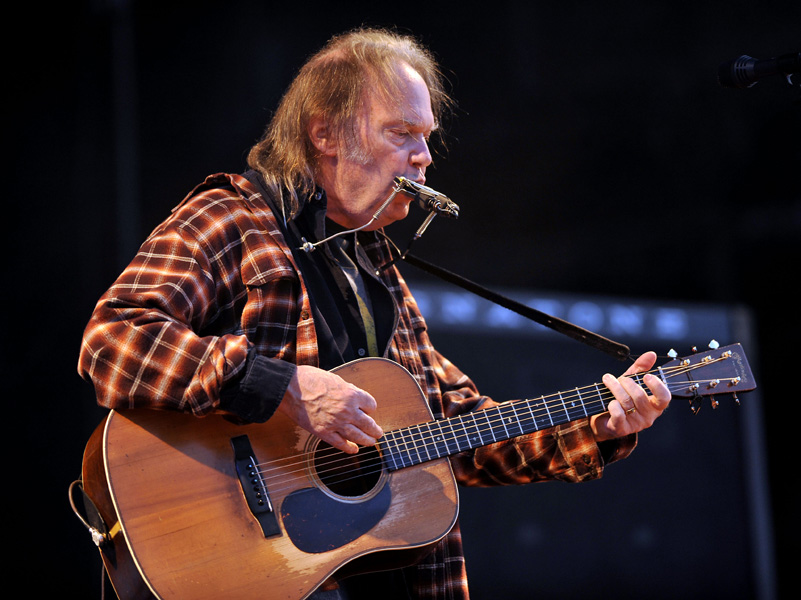 Neil Young perfoming on the third day of the Isle of Wight festival, in Newport on the Isle of Wight.
