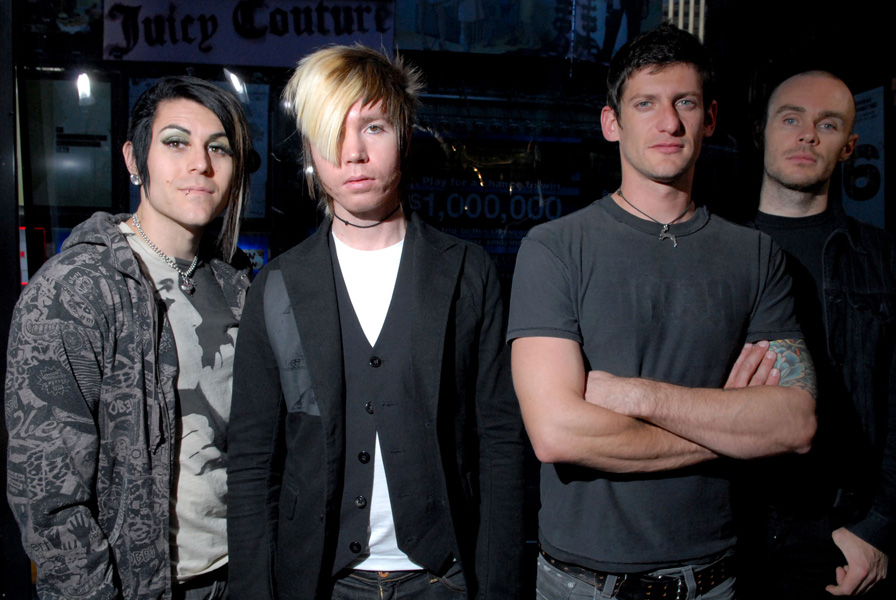 """The band AFI pose backstage after appearing on MTV's """"Total Request Live"""", Tuesday, Sept. 26, 2006, in New York. (AP Photo/Paul Hawthorne)"""