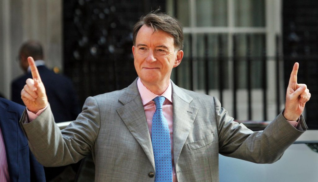File photo dated 29/05/09 of Business Secretary Peter Mandelson meeting with new car buyers who have used the Government's scrappage scheme at Downing Street, central London. Action on climate change must be at the heart of the Government's efforts to shape a positive agenda for the future and rebuild public trust in politics, Business Secretary Lord Mandelson will say today.