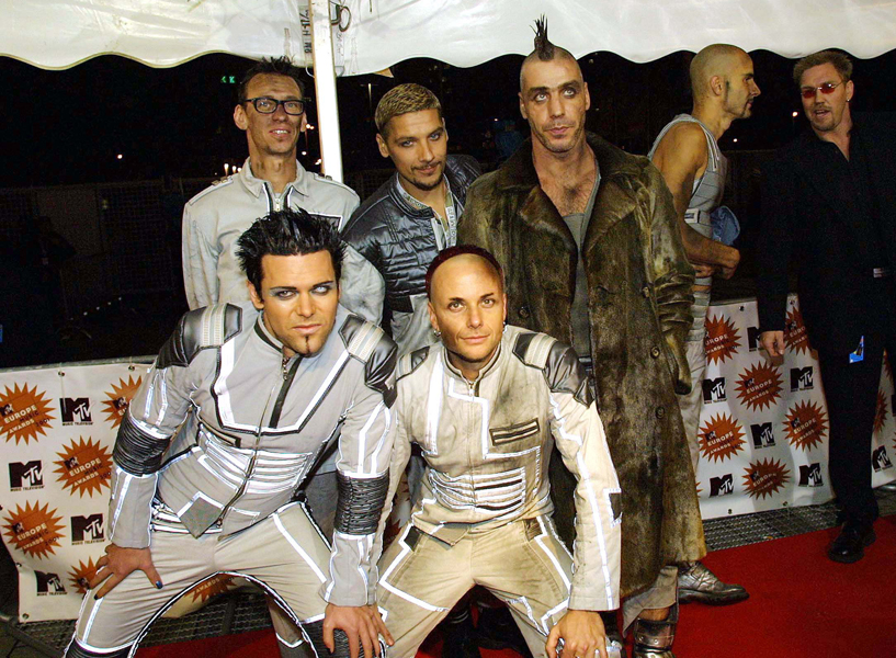 Rammstein at the MTV Europe music awards in Germany. Half Length.