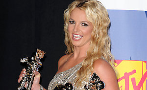 Britney Spears with the awards for Best Female Video, Best Pop Video and Video Of The Year, at the MTV Video Music Awards 2008, at Paramount Studios, Hollywood, Los Angeles, California.