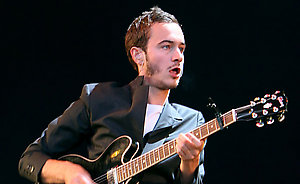 Editors lead singer Tom Smith performs during the Oxegen Festival 2008 at the Punchestown Racecourse, Naas, County Kildare, Ireland.