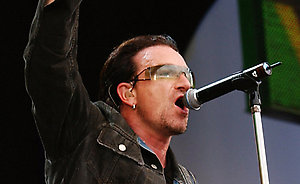 Bono of U2 performs on stage.