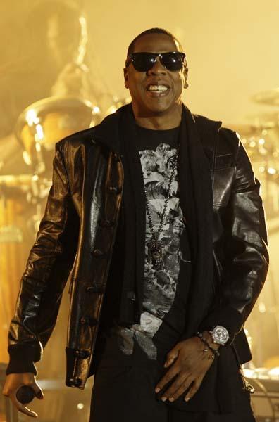 U.S musician Jay Z performs at Wembley Stadium in London, Friday, Sept. 18, 2009. (AP Photo/Joel Ryan)