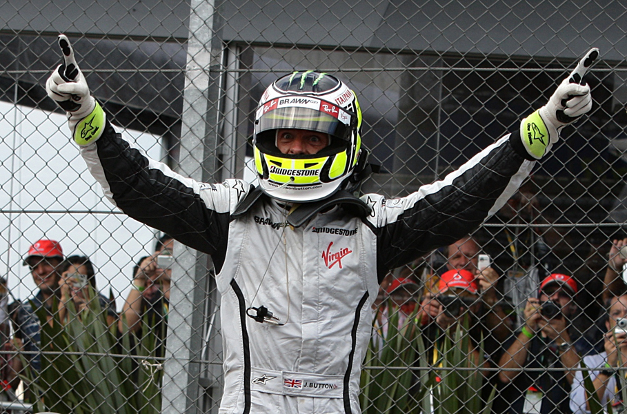Brawn GP's Jenson Button celebrates after winning the World Championship at the Brazilian Grand Prix at Interlagos, Sao Paulo.
