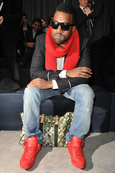 Kanye West attending Vuitton Men's Fall-Winter 2009-2010 fashion show in Paris, France.
