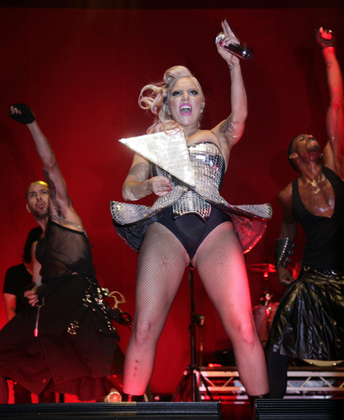 Lady Gaga on the V Stage at the V Festival at Hylands Park, Chelmsford, Essex.