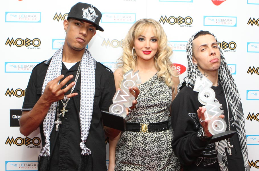 N-Dubz with their Best Album MOBO at the 2009 MOBO Awards at the SECC in Glasgow, Scotland.
