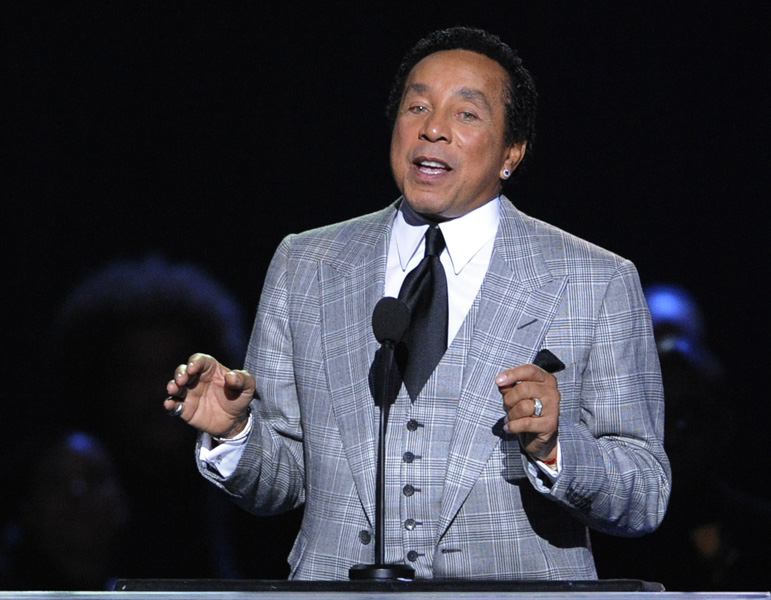 Singer Smokey Robinson speaks during the memorial service for Michael Jackson at the Staples Center in Los Angeles, California.