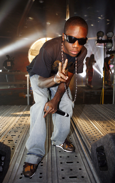 Tinchy Stryder performing live during the recording of Channel 4's T-Mobile Transmission, at the Ram Brewery in Wandsworth, London.