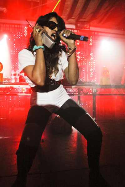 LOS ANGELES, CA (Aug.26th, 2009) - M.I.A. performs at a secret show in Downtown Los Angeles to celebrate her new record label, N.E.E.T Records.