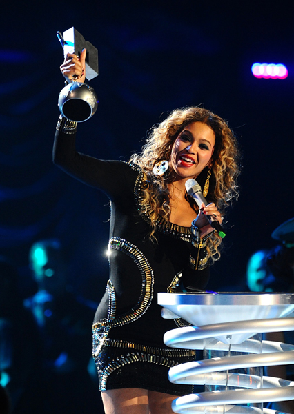 Beyonce accepts the award for Best Video on stage at the 2009 MTV Europe Music Awards at O2 World in Berlin, Germany.