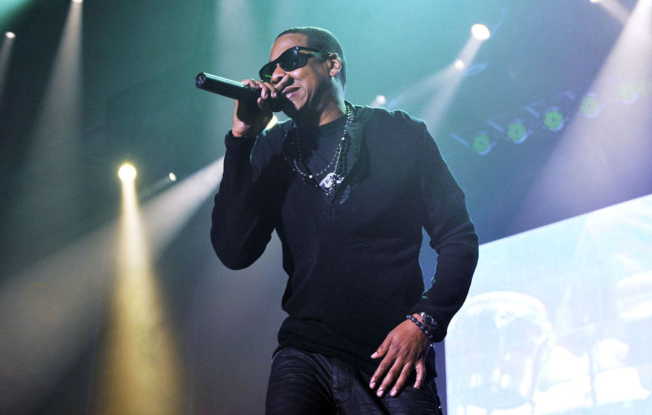 Jay-Z performs live at the Alexandra Palace in north London.