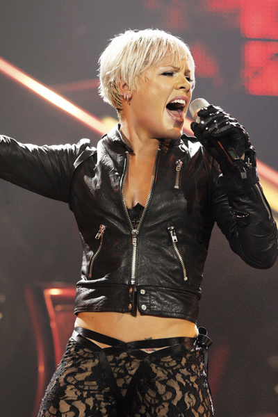 NICE - FEBRUARY 24: (UK TABLOID NEWSPAPERS OUT) Pink performs onstage at the Palais De Nikaia on February 24, 2009 in Nice, France. (Photo by Dave Hogan/Getty Images)