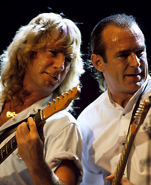 Status Quo's Rick Parfitt and Francis Rossi together on stage