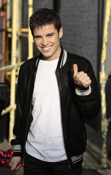X Factor winner Joe McElderry leaves the ITV studios on the South Bank after appearing on the GMTV and This Morning shows.