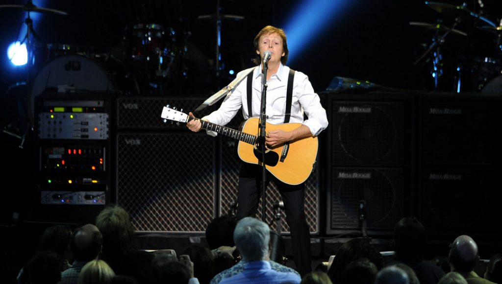 Former Beatle Paul McCartney performs at the Change Begins Within Concert, Saturday April 4, 2009 in New York. (AP Photo/Stephen Chernin)