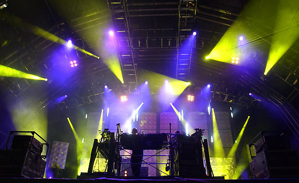 Orbital perform at the Glastonbury Festival at Worthy Farm in Pilton, Somerset.