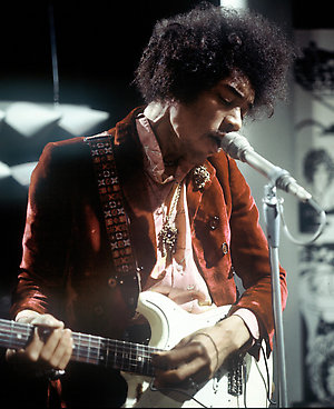 Jimi Hendrix - Rock Singer and Musician. Member of The Jimi Hendrix Experience.  Performing for TV. Date: 01.01.1967 