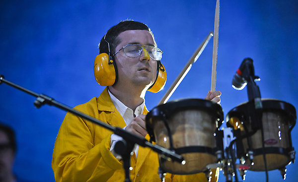 Felix Martin of Hot Chip performs on the Other Stage during day two of the Glastonbury Festival, Somerset.