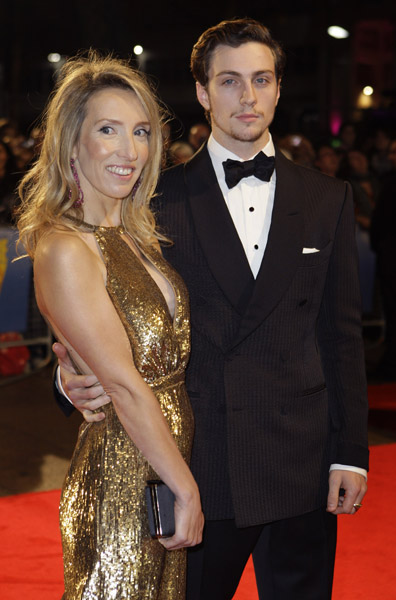 English director Sam Taylor-Wood and actor Aaron Johnson arrive for the London Film Festival's closing night film of 'Nowhere Boy', in London's Leicester Square, Thursday Oct. 29, 2009. (AP Photo/Joel Ryan)
